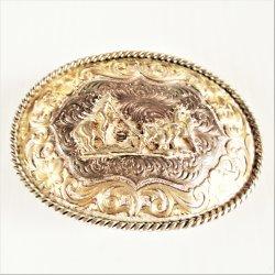 Montana Silversmiths Calf Roping Belt Buckle, Silver Plate