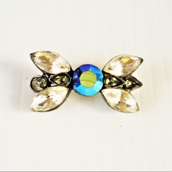 Bow Tie Design, Rhinestone and Aurora Borealis Pendant