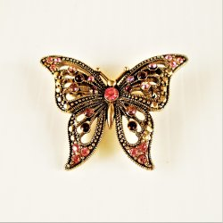 Butterfly Brooch, Possible Colored Rhinestones