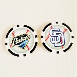 San Diego Padres Golf Ball Marker Chips, pk of 3, New