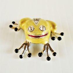 Frog Magnet, Enameled, Rhinestones, 1.5 inch