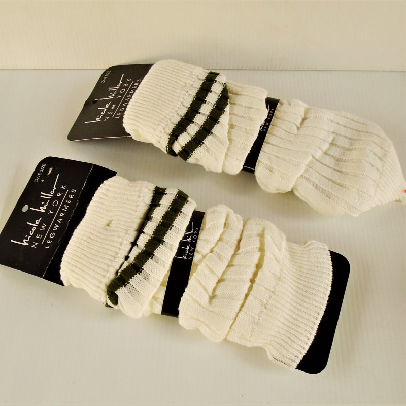 Leg warmers, 2 pair. Nicole Miller brand. One size fits all. New, still on store display cards.