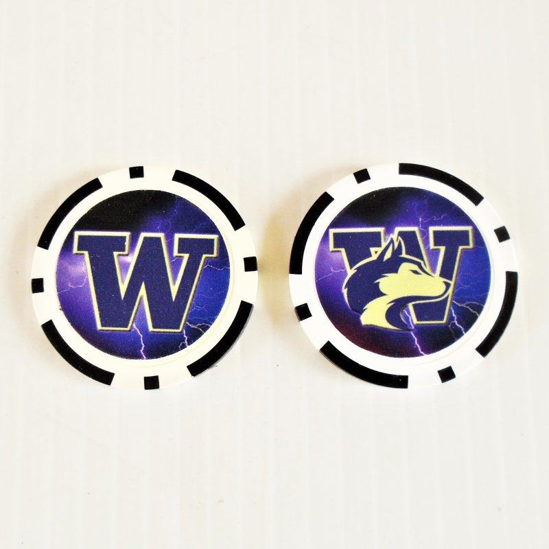 University of Washington, Washington Huskies Golf Ball Marker chips. 3 per pack. Never used.