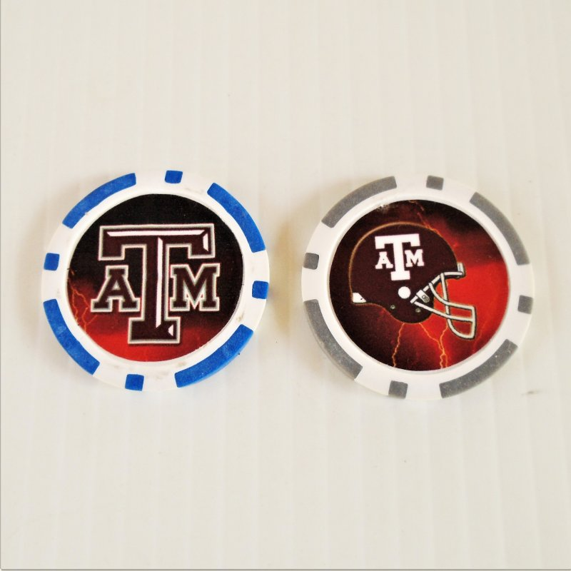 Texas A&M Aggies Football Golf Ball Marker chips. 3 per pack. Never used.