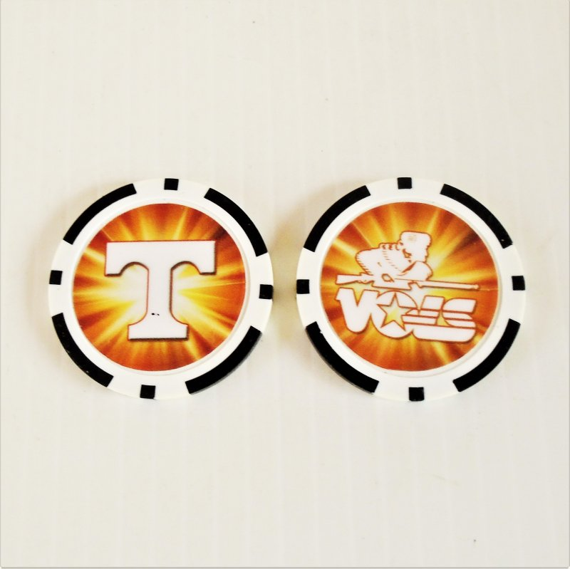 University of Tennessee Knoxville Tennessee Vols golf ball marker chips. 3 per pack. Never used.