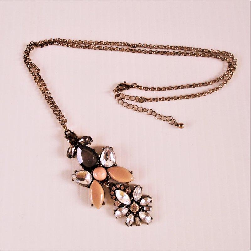 Multicolor Dangle Necklace, 24 inch gold tone chain, 2 part rhinestone pendant. Estate find, unknown age.
