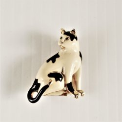 Cat Kitten Lapel Brooch Pin Black and White 1.5 inch signed