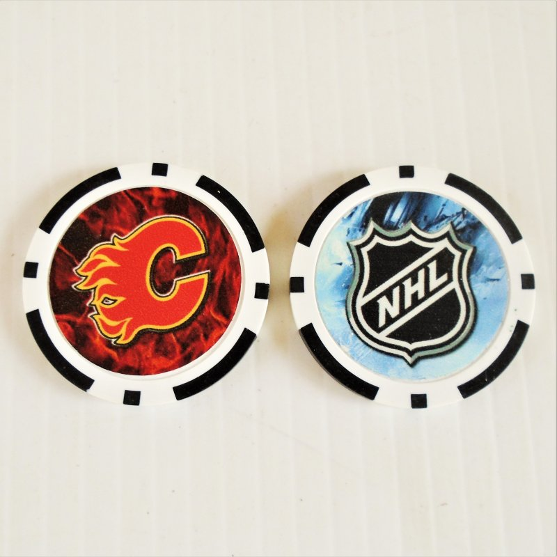 Calgary Flames NHL golf ball marker chips. 3 pieces. Never used.