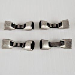 Regaliz Leather Jewelry Clasps, 10x7mm, Silvertone, pk/3