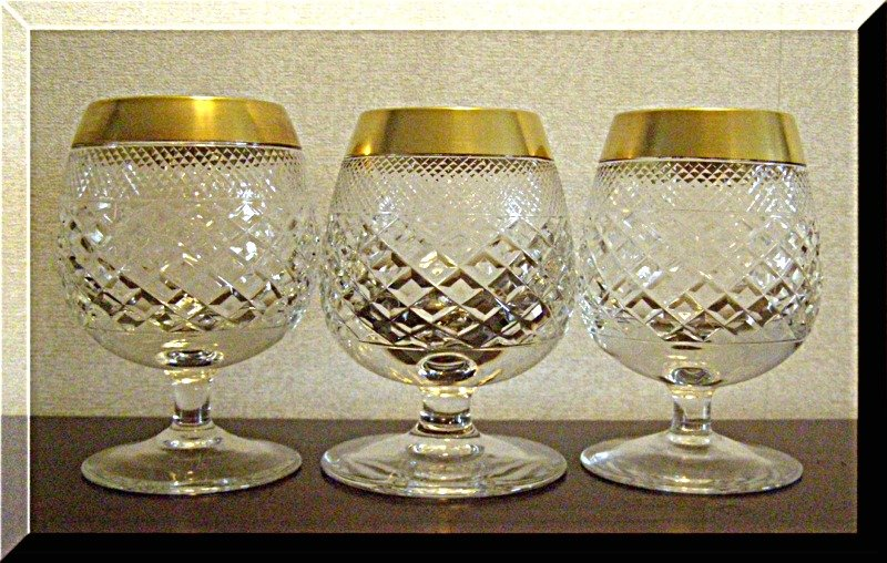 Brandy cognac cut glass crystal free blown diamond hand cut 24k gold rim 3 pcs - Waterford cognac glasses ...