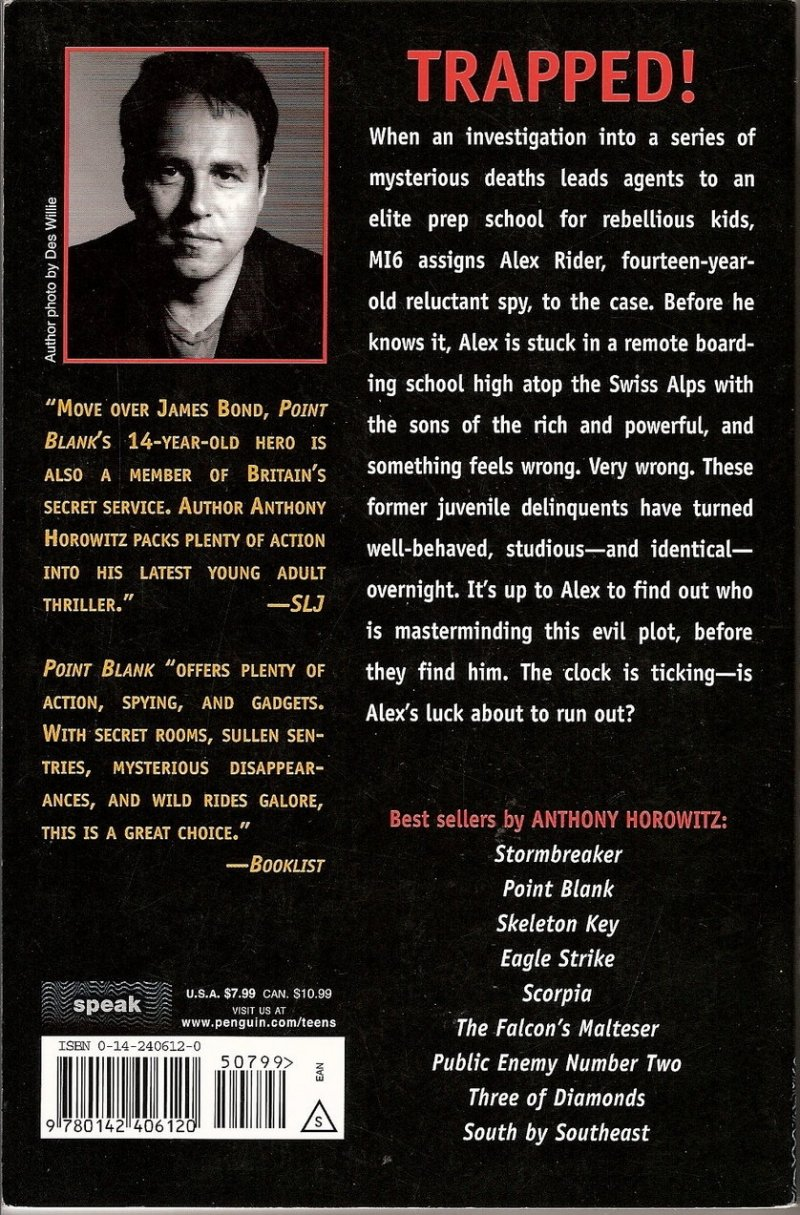 alex rider point blanc book report Stormbreaker by anthony horowitz - review s tormbreaker is the very first novel in the alex rider series buy this book at the guardian bookshop.