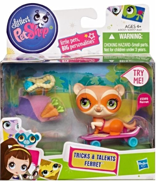 Image 0 of Littlest Pet Shop Tricks and Talents Figure Orange Ferret 2393 w/skateboard