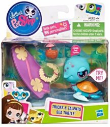 Littlest Pet Shop Tricks and Talents Figure Sea Turtle 2398 w/surfboard
