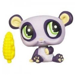 Littlest Pet Shop Purple Panda 1305 with corn cob single pack released 2009