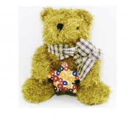 Buttons and Bows Bear chenille plush gift bear 2002 10 inch
