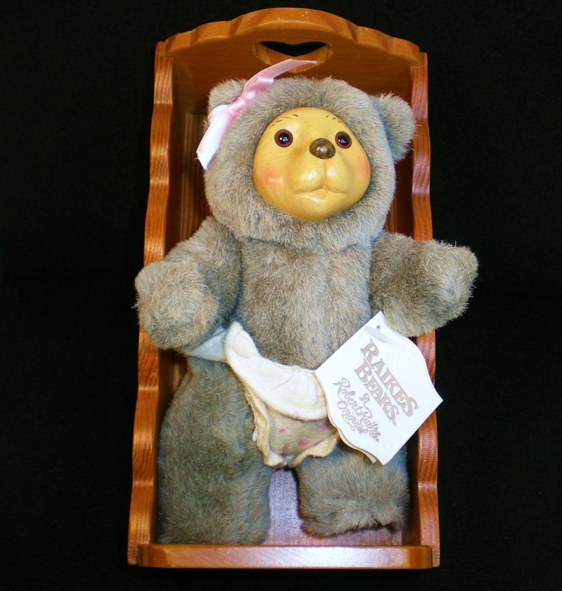 Image 0 of Robert Raikes Bear Alison and cradle Nursery Miniatures 1990