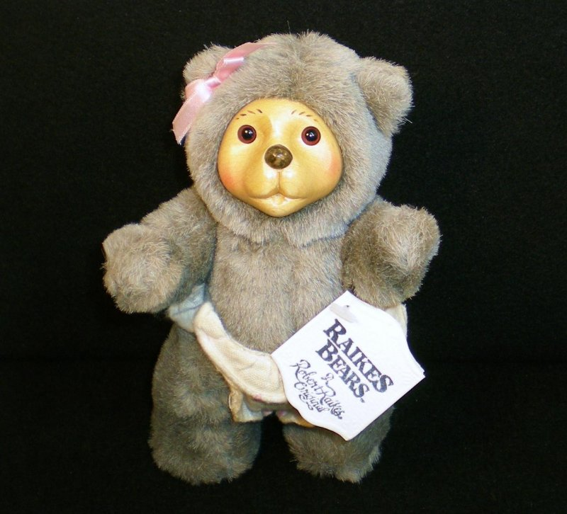 Image 1 of Robert Raikes Bear Alison and cradle Nursery Miniatures 1990