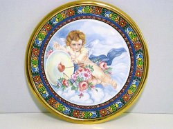 Cearco Decorative Plate hand painted Spain 24 kt gold trim