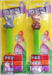 Pez Floppy Ear Bunny 2013 and Bucktooth Bunny 2011 on card