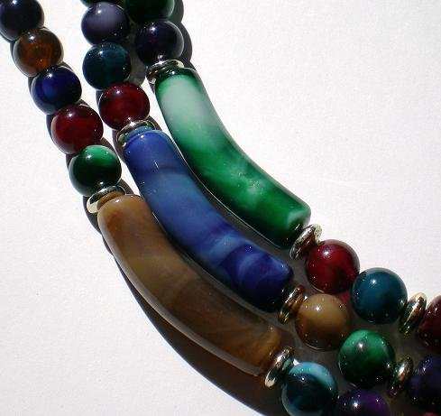 Multi colored smoky marbling glass beads