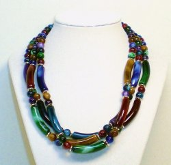 Marbled beads three strand multi colored beaded necklace