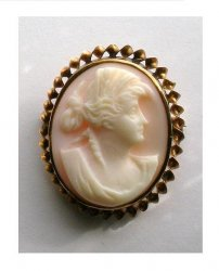 Vintage Pink Shell Cameo Brooch twisted 10k gold 1900-1930s