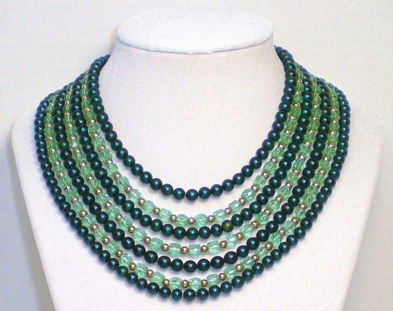 Seven strand green Austrian crystal Jade glass bead Necklace