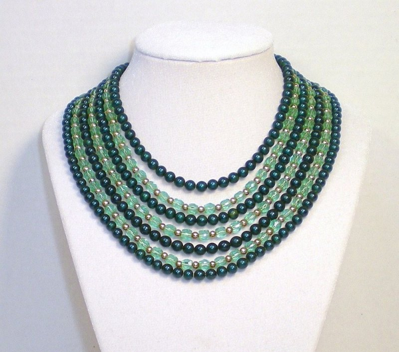 Austrian crystal Jade glass bead Necklace 7 strands