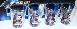 Star Trek shot glasses Kirk Spock McCoy Scotty 2 oz Original Series