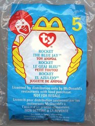 McDonalds TY Teenie Beanie Rocket The Blue Jay 5 1999