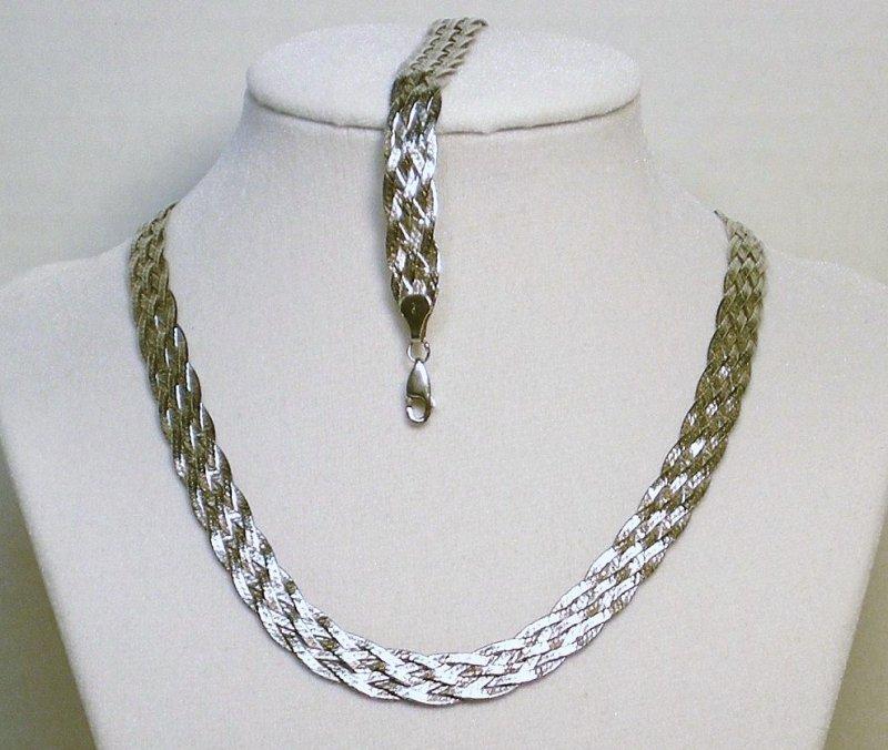 Silver 6 Stranded Braided Herringbone Necklace Bracelet