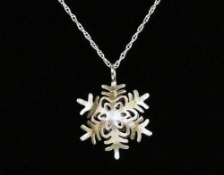 Snowflake Pendant Necklace silver engraved KJ .925 1998