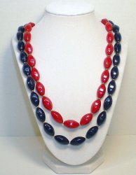Red and Navy faceted oval bead costume necklaces vintage