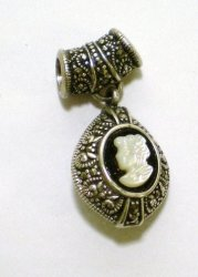 Sterling Silver Marcasite Banded Onyx Cameo Pendant