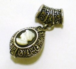 '.Marcasite Banded Onyx Cameo.'