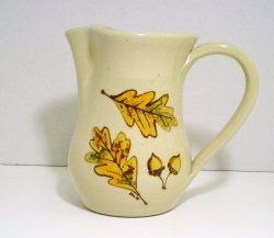 Kovack pottery ceramic pitcher hand painted leaf Seagrove NC