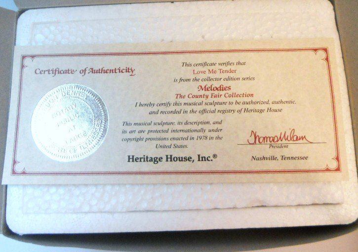 Melodies County Fair Collection Carousel Horse Heritage House Box and COA