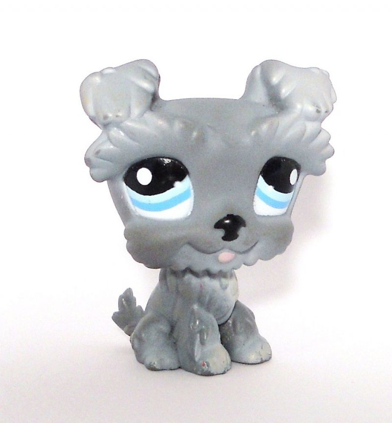 Littlest Pet Shop Schnauzer Gray Dog 1393 Blue Eyes Loose