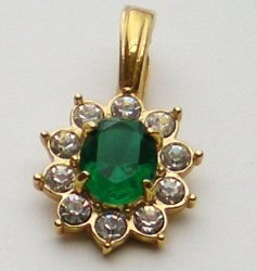 Emerald Green Crystal wi/ clear crystal rhinestone Pendant ROMAN signed
