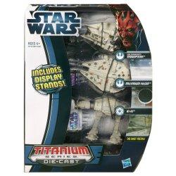 Star Wars Die Cast Titanium Ep. V Snowspeeder Millennium Falcon AT-AT