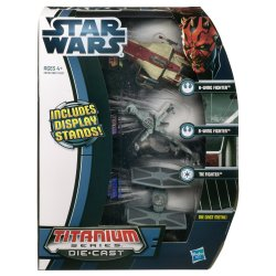 Star Wars Die Cast Titanium Ep. VI A Wing, B Wing and Tie Fighter