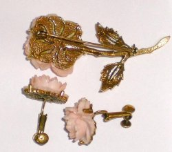'.Pink Rose brooch earring set.'