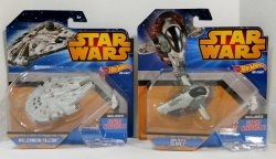 Hot Wheels Star Wars Millennium Falcon and Slave I vehicles