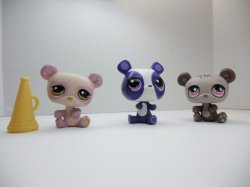 Littlest Pet Shop Panda #594, #899 w/ megaphone and #3557 loose