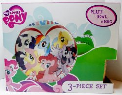 My Little Pony 3 piece Dinner set, plate, bowl and mug cup Hasbro