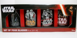 Star Wars Force Awakens 8 oz 4-pk set glasses Ren Phasma Stormtroopers