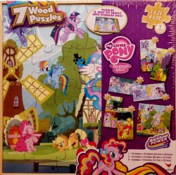 My Little Pony 7 Wood Puzzles Rainbow Power w/ Storage Box by Cardinal