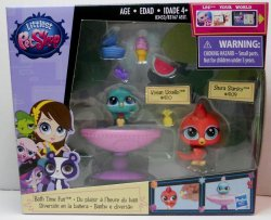Littlest Pet Shop Birds, Vivian 4110 and Shura 4109 Bath Time Fun playset