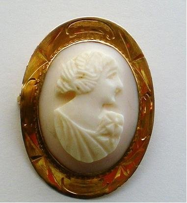 Pink Shell Cameo Brooch
