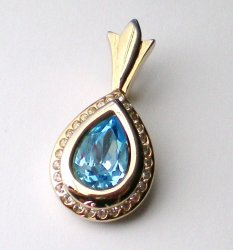 Blue topaz tear drop clear rhinestone gold pendant